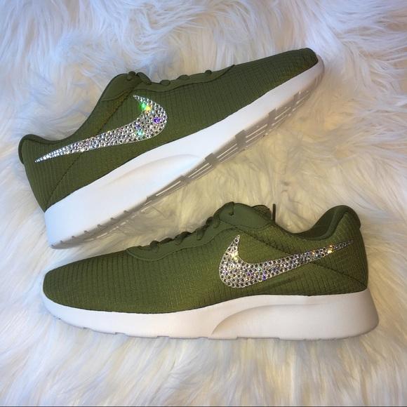 63b4094aa Bling Nike Tanjun Camo Green Shoes with Swarovski